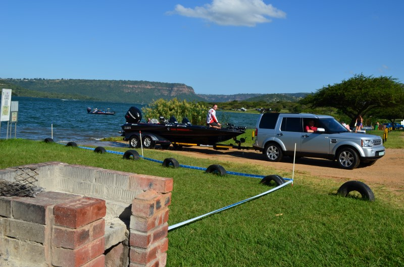 Launching a boat at Inanda dam